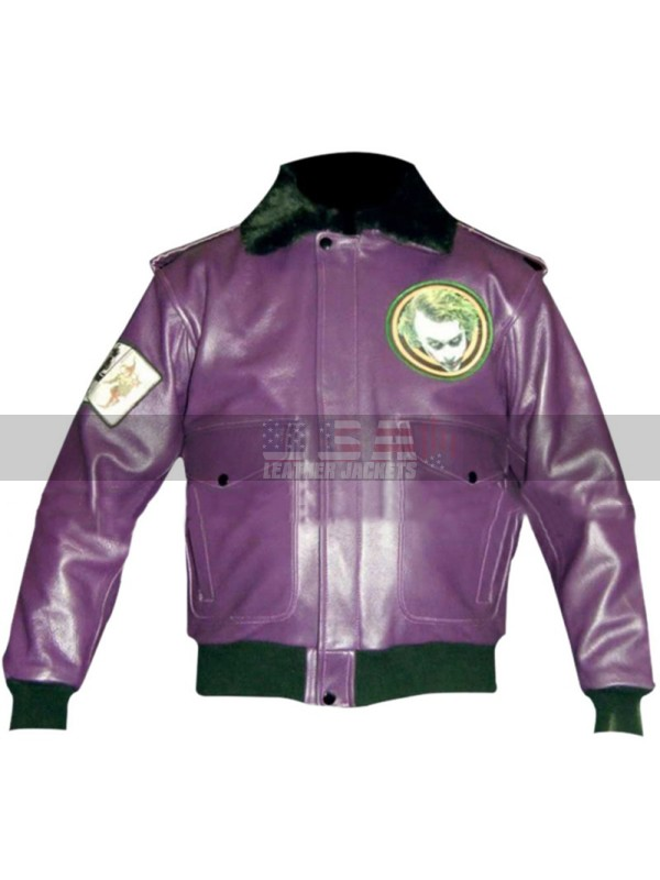 Batman Joker Goons Purple Bomber Fur Leather Jacket