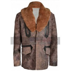 Justice League Aquaman Fur Collar Brown Leather Coat