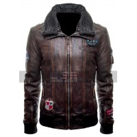 Justice League (Unite The League) Fur Collar Bomber Brown Leather Jacket