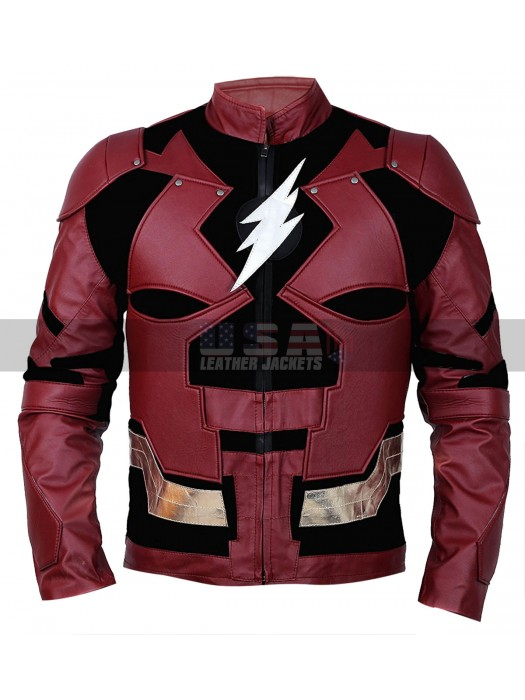 Justice League Ezra Miller Cosplay Costume Leather Jacket
