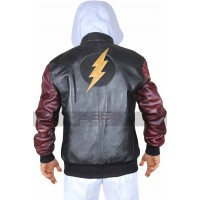 Flash Logo Justice League Hoodie Letterman Leather Jacket