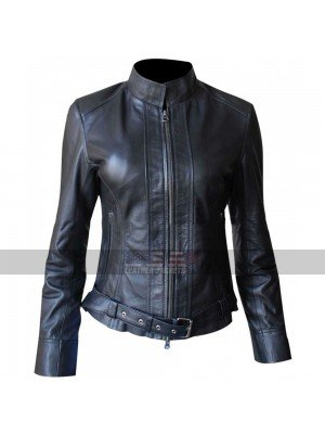 Sons of Anarchy Katey Sagal Belted Biker Leather Jacket