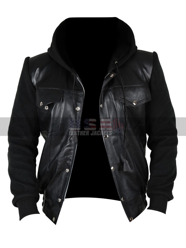 Cheddar Keanu Method Man Black Hooded Leather Jacket