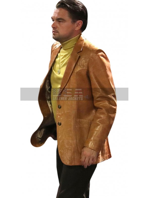 Once Upon a Time in Hollywood Rick Dalton Brown Leather Blazer