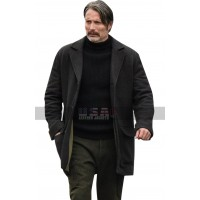 Netflix Polar Mads Mikkelsen Wool Trench Jacket Pea Coat