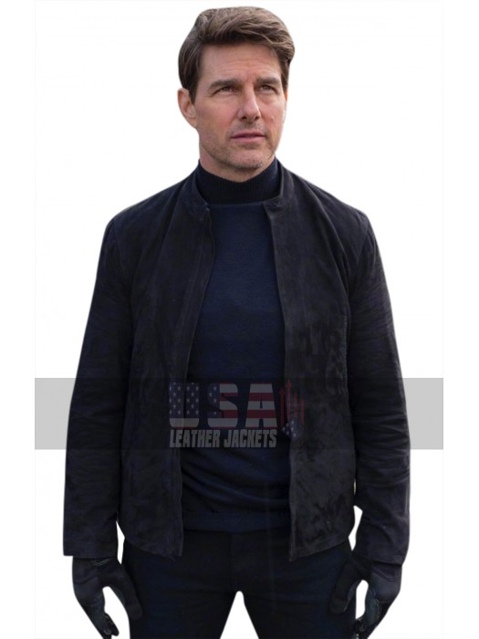 Mission Impossible 6 Fallout (Tom Cruise) Ethan Hunt Black Suede Leather Jacket