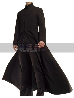 Neo Matrix Keanu Reeves Black Trench Leather Coat