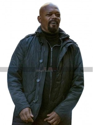 Spider-Man Far From Home Nick Fury Black Quilted Jacket