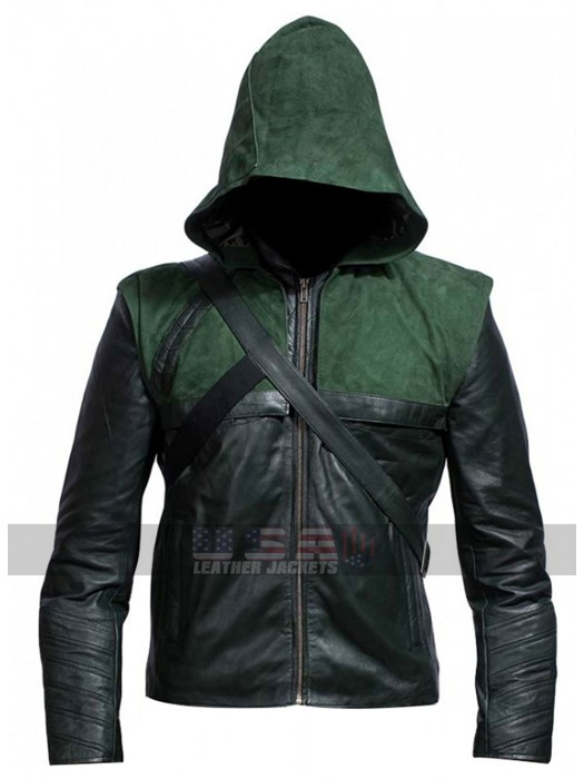 Stephen Amell Green Arrow TV Series Leather Jacket