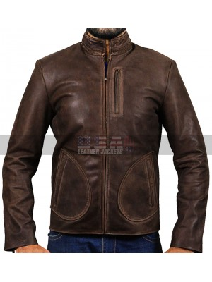 Rampage Dwayne Johnson Davis Okoye Distressed Brown Leather Jacket