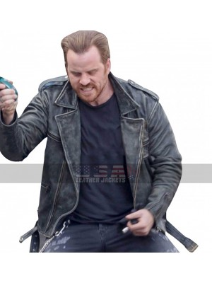 Robert Kazinsky Captain Marvel Distressed Black Leather Jacket