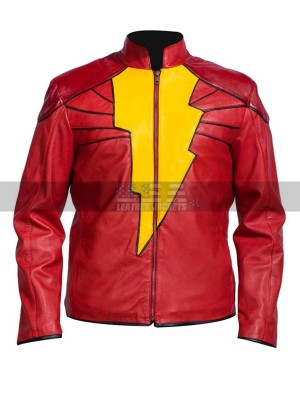 Captain Marvel Shazam Costume Red Leather Jacket