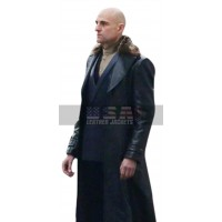 Dr Thaddeus Sivana Shazam Mark Strong Black Fur Collar Leather Coat