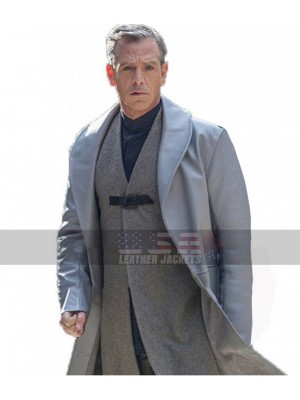 Ben Mendelsohn Robin Hood Grey Leather Trench Coat