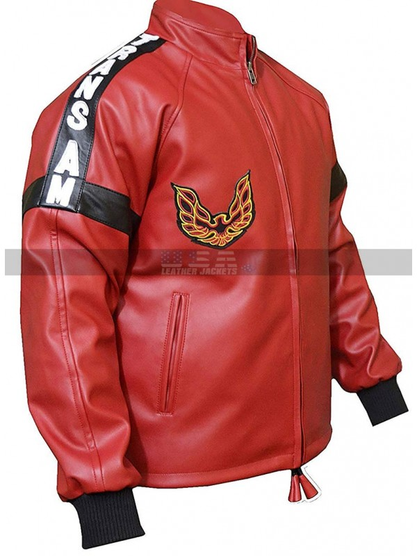 Men Smokey And The Bandit Burt Reynolds Red Biker Leather Jacket