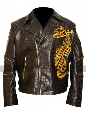 Suicide Squad Killer Croc Lapel Collar Black Leather Jacket
