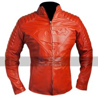 Superman Smallville Shield Blood Red Leather Jacket
