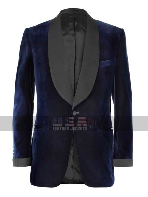 Taron Egerton Kingsman Smoking Dinner Blue Velvet Tuxedo Blazer
