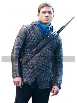 Robin Hood Taron Egerton Hoodie Black Quilted Leather Jacket