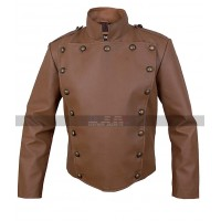 The Rocketeer Costume Billy Campbell Stuntman Men's Bill Campbell Brown Leather Jacket