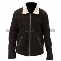 Men's Andrew Lincoln The Walking Dead Rick Grimes Fur Brown Suede Jacket