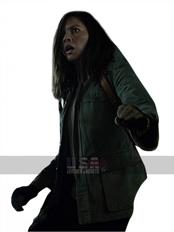 Olivia Munn The Predator Casey Bracket Green Cotton Jacket