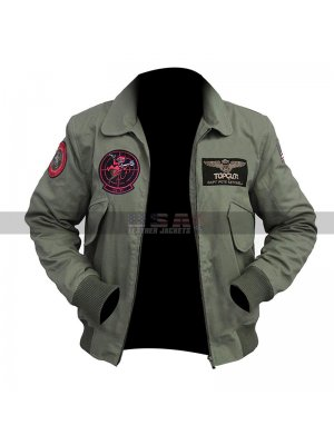 Tom Cruise Top Gun 2 Maverick MA-1 Flight Bomber Patched Green Cotton Jacket