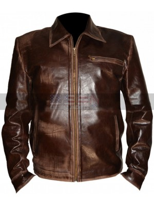 Bruce Willis Surrogates Tom Greer Distressed Brown Leather Jacket