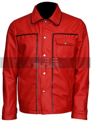 Elvis Presley Vintage Classic King of Rock Retro Red Leather Jacket