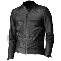 David Beckham Vintage Slim Fit Biker Quilted Leather Jacket