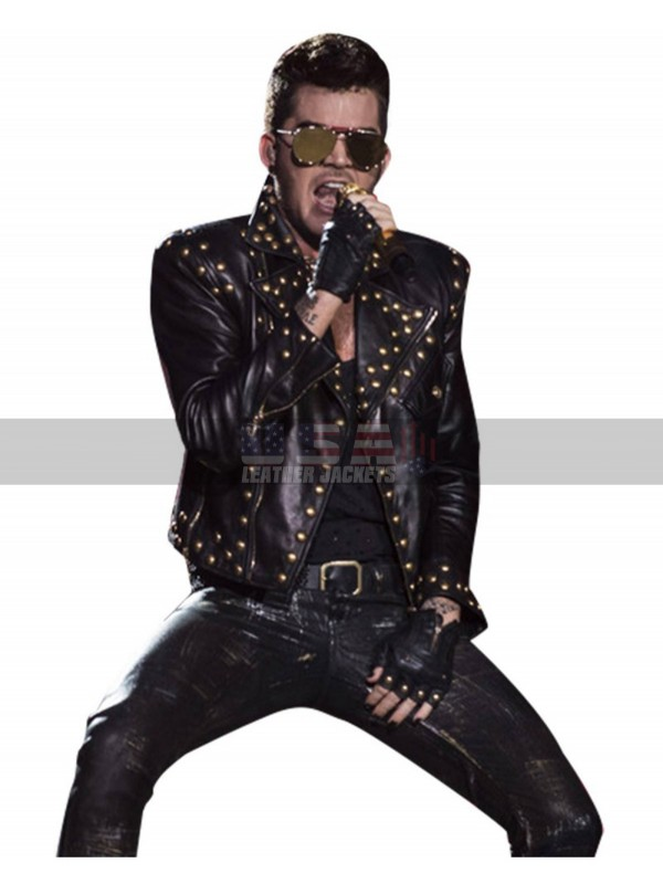 6adad4b84 Adam Lambert Queen Concert 2018 Studded Black Leather Jacket