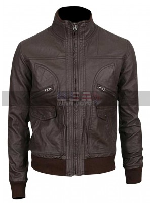 Slim Fit Men Dark Brown Bomber Leather Jacket