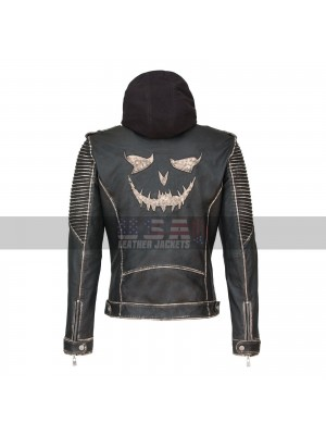 The Killing Suicide Squad Joker Slim Fit Hooded Leather Jacket