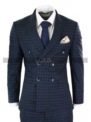 Mens Vintage Checkered Style 3 Piece 1920s Plaid Navy Suit