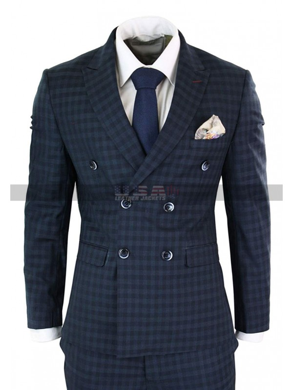 66e35bed1fa8 Mens Vintage Checkered Style 3 Piece 1920s Plaid Navy Suit