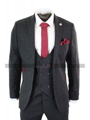 1920s Mens Vintage Plaid Style 3 Piece Grey Suit