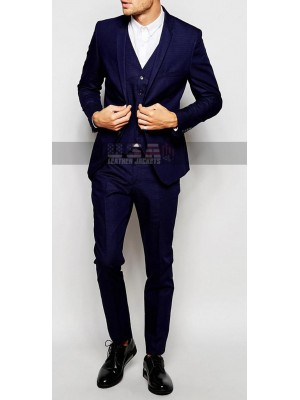 Men Skinny Fit Navy Blue Suit