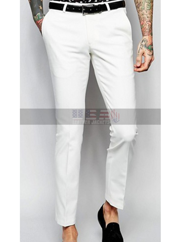 Men's Skinny Fit with Stretch Shawl Lapel White Suit