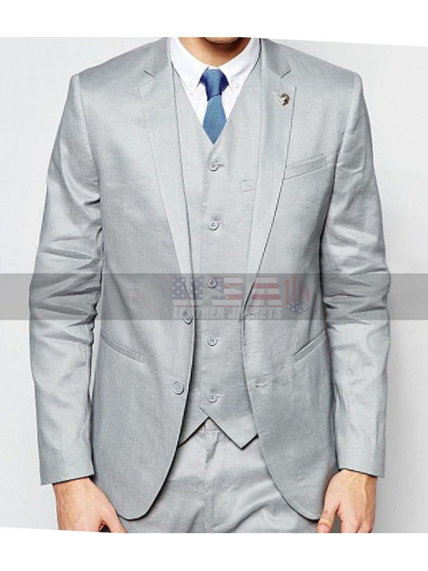 Men Skin Fit Notch Lapel Grey Suit