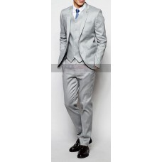 Men Skin Fit Notch Lapel Gray Suit