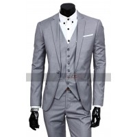 Men Notch Lapel Slim Fit Grey 3 Piece Party Tuxedo Suit