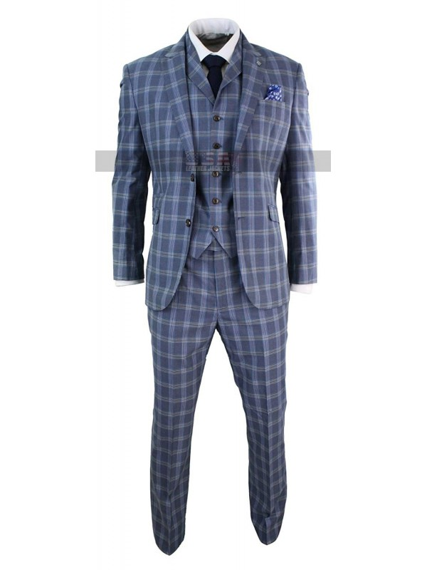 1920s Mens Vintage Checkered Style 3 Piece Light Blue Suit