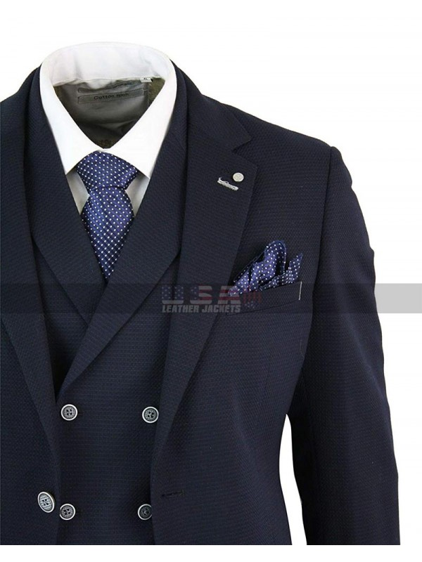 1920s Mens Vintage Tuxedo 3 Piece Navy Blue Suit