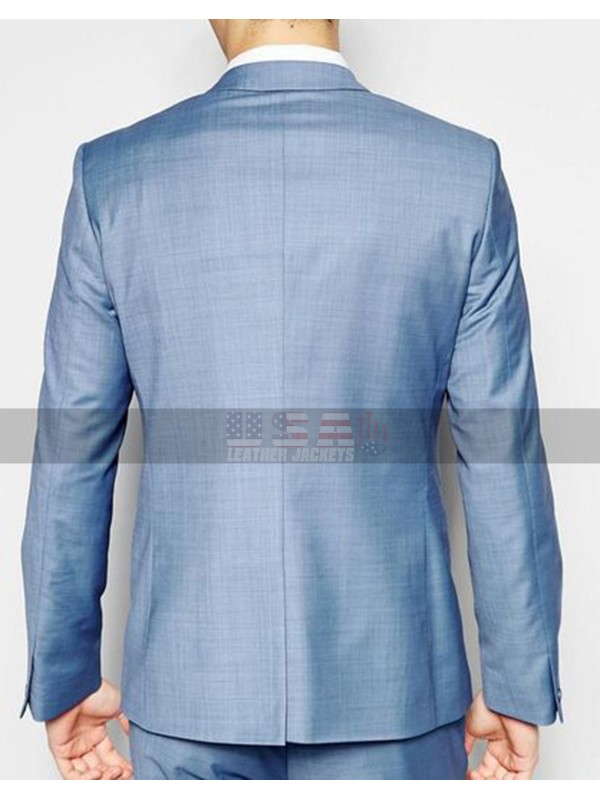 Men's Skinny Fit Straight Hem Blue Suit