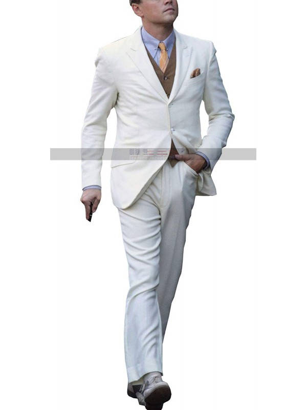Great Gatsby Leonardo DiCaprio 3 Piece White Suit