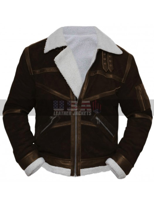 Power 50 Cent (Kanan) White Fur Shearling Brown Leather Jacket