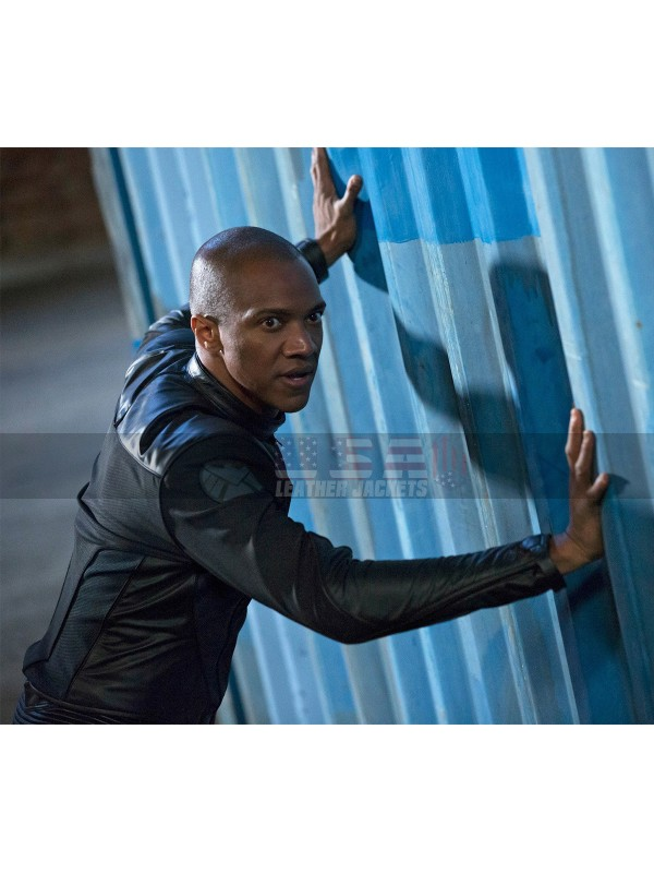 Agents of S.H.I.E.L.D August Richards Black Costume Leather Jacket