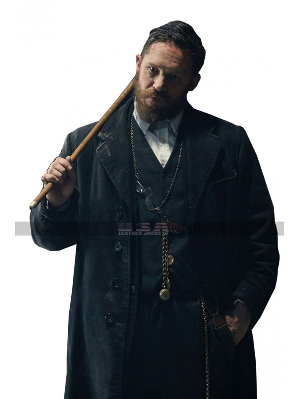Men's Winter Peaky Blinders Costume Alfie Solomons Black Wool Trench Coat