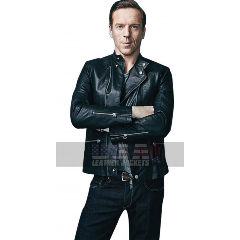 Billions Bobby Axelrod Motorcycle Black Leather Jacket
