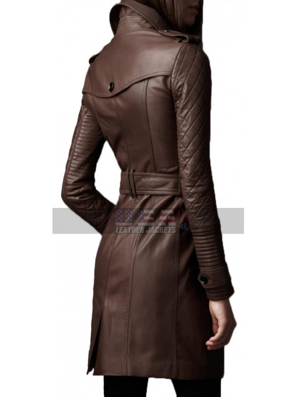 Stana Katic Castle Kate Beckett Brown Trench Leather Coat